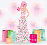 Spring sale girl. vector illustration — Vector de stock