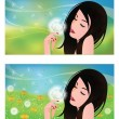 Spring banners, Girl with a Dandelion. vector — Stock Vector