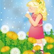 Little cute girl blowing a dandelion. vector illustration — Stock Vector