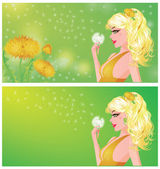 Spring banners with young girl vector illustrat — Stock Vector