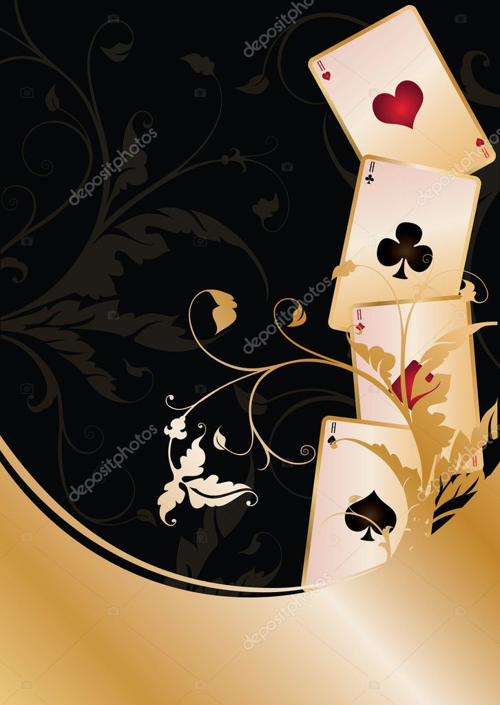 Background with Poker cards, vector illustration — Stockvectorbeeld #5054415