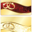 Two Wedding banner with golden rings. vector illustration - Stok Vektör