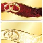 banner di nozze due con anelli d'oro. illustrazione vettoriale — Vettoriale Stock