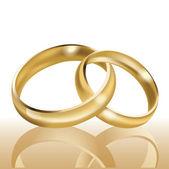 Snubní prsteny, symbol manželství a věčnou lásku, vektorové — Stock vektor