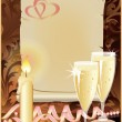 Wedding greeting card with candle and champagne. vector illustration — Stok Vektör