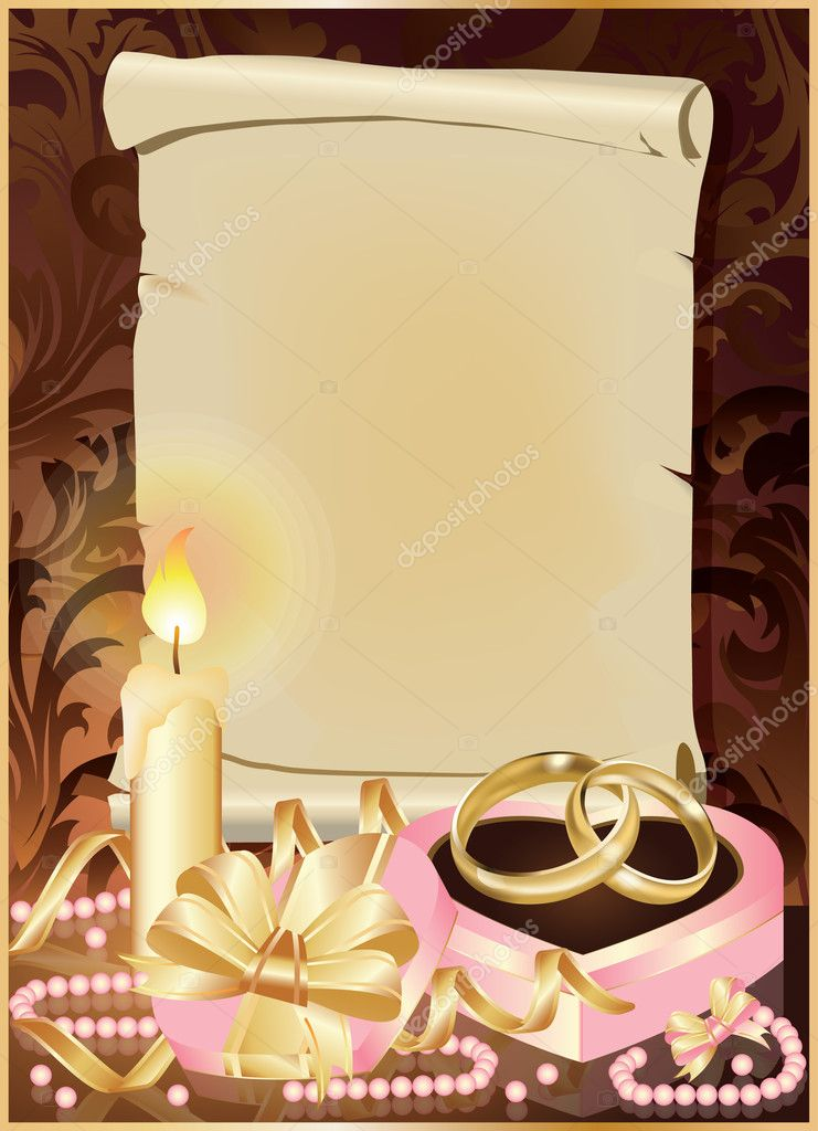 Wedding invitation card with candle and golden rings. vector illustration — Stock Vector #5154304