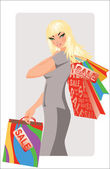 Sale time. Beautiful woman advertising Shopping bags. vector illustration — Stock Vector