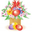 Easter basket with flowers, vector illustration — Stock Vector