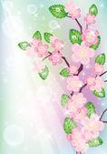 Background with sakura tree. Vector Illustration — Stock Vector