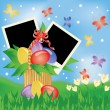 Easter greeting card with two frame for photo. vector illustration — Stock Vector