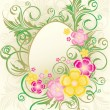 Easter frame with flowers and eggs, vector illustration — Stock Vector