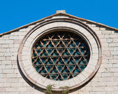 Rose window. St. Francesco Church. Corciano. Umbria. — Foto de Stock