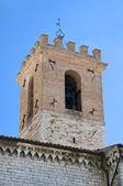 St. Pietro Belltower Church. Gubbio. Umbria. — Stock Photo