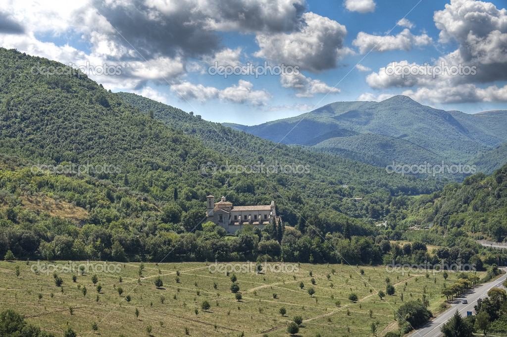 Panoramic view with St. Pietro Basilica. Spoleto. Umbria.  Stock Photo #3981648