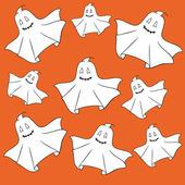 Ghosts on orange background. — Stock Vector