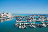 Boats moored at tourist port of Bisceglie. Apulia. — Stock Photo