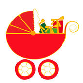 Baby carriage with christmas presents. — Stock Vector
