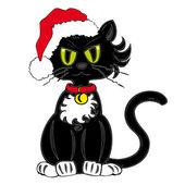 Black Cat with Santa Claus Hat. — Stock Vector