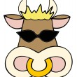 Royalty-Free Stock Vector Image: Dairy cow face with sunglasses.