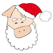 Santa Claus pig smiling. — Stock Vector