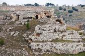 Palaeolithic caves. Matera. Basilicata. — Stock Photo