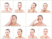 Blonde woman facial expressions. — Stock Photo