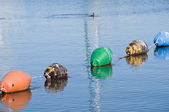 Buoys row floating. — Stock Photo