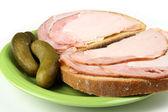 Bread with ham — Stock Photo