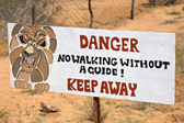 Danger lions signboard — Stock Photo
