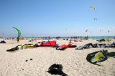 Kitesurf equipment on the beach — Stock Photo