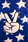 Thumb down with stars — Stock Photo