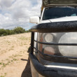 Headlights and bumper of a 4x4 car - Kalahari — Stock Photo