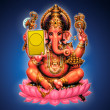 Illustration of Ganesh on blue background - Indian God — Stock Photo #5121285