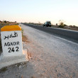 Stock Photo: Sign road with distance to agadir