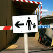 White signboard in the street — Stockfoto