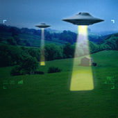UFO in a meadow — Stock Photo