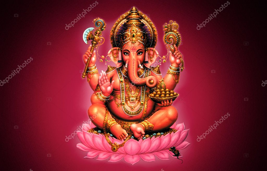 Illustration of Ganesh on red background - Indian God — Stock Photo #5200774