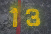 Number thirteen painted — Stock Photo