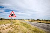 Gevaar olifanten verkeersbord — Stockfoto