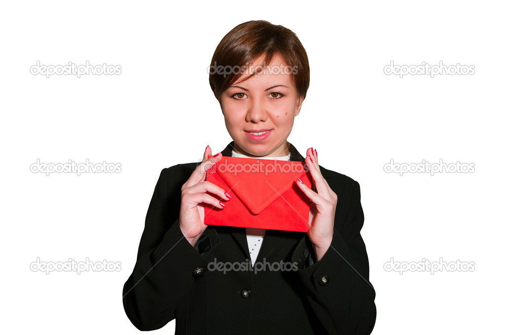 Pretty young business woman smiles and holds blank envelope isolated on white — Stock Photo #5057964