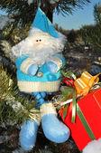 Santa Claus and gift, Christmas — Stock Photo