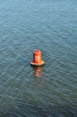 Buoy for safe navigation, marine distance marker — Stock Photo