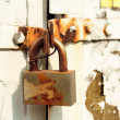 Stock Photo: Old rusted padlock