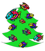 Fish at the Christmas tree — Stock Photo