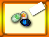 Easter many-colored of egg on the postcard with the wishes — 图库照片