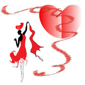 Woman in red dress dancing passionate dance — Stock Vector