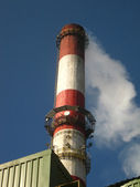 Red and white chimney — Stock Photo