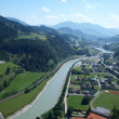 View from the tower of a medieval castle in Austria Hohenwerfen - Стоковая фотография