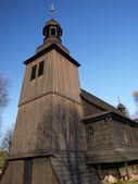 Old wooden Catholic church — Stock Photo
