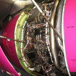 Overview of aircraft engine in a hangar — Stock Photo